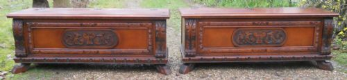 Pair Italian Walnut Blanket Boxes